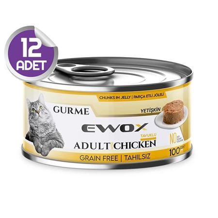 Ewox Gurme Tavuklu Tahılsız Kedi Konservesi 100 Gr x12