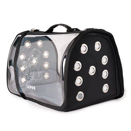 Lepus Şeffaf Fly Bag Kedi Köpek Taşıma Çantası Siyah Large