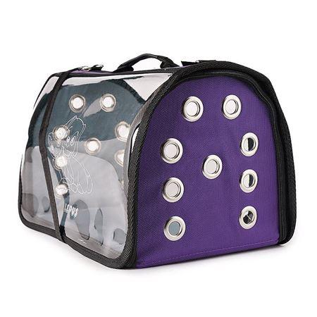 Lepus Şeffaf Fly Bag Kedi Köpek Taşıma Çantası Mor Large