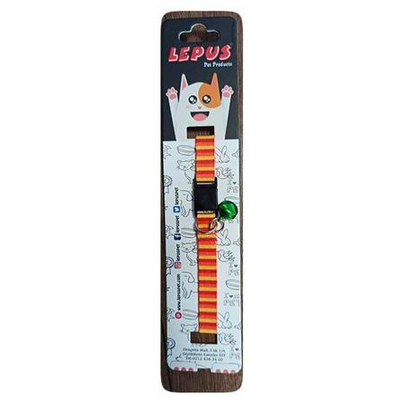 Lepus Kedi Boyun Tasması Kırmızı Sarı Turuncu Desenli
